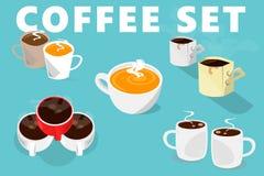 Tazas de café fijadas Tipo cinco de tazas stock de ilustración