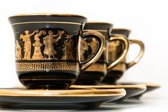 Tazas de café griegas Foto de archivo libre de regalías
