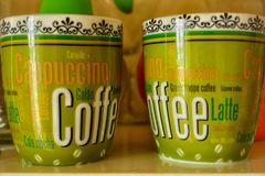 Tazas de café interiores foto de archivo libre de regalías