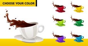 Tazas de café multicoloras del vector Imágenes de archivo libres de regalías