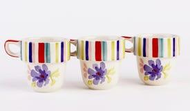Tazas de café pintadas a mano Fotografía de archivo