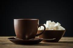 Tazas de café, y azúcar Fotografía de archivo