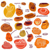 Tazas de café y tortas y macarrones del dulce fijados Foto de archivo libre de regalías