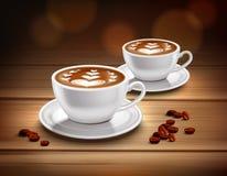 Tazas de composición del café del capuchino Foto de archivo libre de regalías