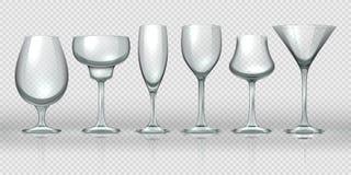 Tazas de cristal realistas Copas de vino y cubiletes transparentes vacíos del cóctel del champán Cristalería realista 3D del  ilustración del vector