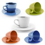 Tazas de diversos colores Foto de archivo libre de regalías