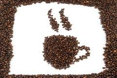 Tazas de granos de café Foto de archivo