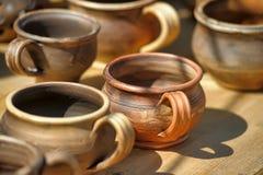 Tazas de la arcilla Imagen de archivo libre de regalías