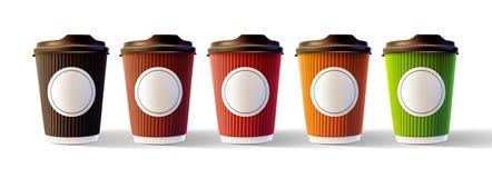 Tazas de la ondulación del café con el vector aislado etiqueta engomada en blanco EPS10 Imagenes de archivo
