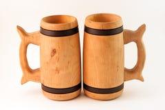 Tazas de madera Imagen de archivo libre de regalías