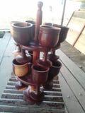 Tazas de madera agradables Foto de archivo libre de regalías