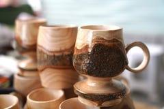 Tazas de madera decorativas Fotografía de archivo