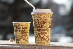 Tazas de papel del café Foto de archivo