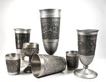 Tazas de plata reales Fotos de archivo