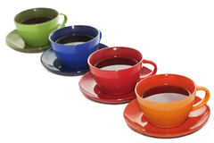 Tazas de té coloreadas Foto de archivo libre de regalías