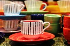 Tazas de té coloridas Fotografía de archivo
