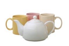 Tazas de té con la tetera Imagen de archivo libre de regalías