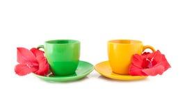 Tazas de té con las flores en un fondo blanco Imagen de archivo