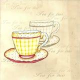 Tazas de té de la acuarela Fotos de archivo libres de regalías