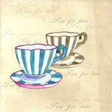 Tazas de té de la acuarela Imagen de archivo libre de regalías
