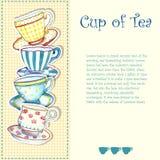 Tazas de té de la acuarela Foto de archivo libre de regalías