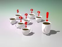 tazas de té Fiesta del té de la oficina Discusión o comunicación durante un descanso para tomar café Imagen simbólica de respuest ilustración del vector