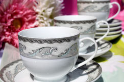 Tazas decorativas del té y de café Foto de archivo libre de regalías
