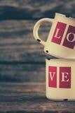 Tazas del amor Foto de archivo libre de regalías