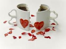 Tazas del amor de café Imágenes de archivo libres de regalías