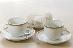 Tazas del café con leche Imagen de archivo