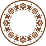 Tazas del café o de la camiseta con el icono del logotipo de las flores Imágenes de archivo libres de regalías