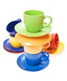 Tazas del color Fotos de archivo libres de regalías