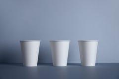 Tazas del Libro Blanco aisladas en sistema gris de la maqueta Foto de archivo