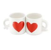 Tazas dulces de los pares tazas de cerámica blancas preciosas para los amantes Fotos de archivo