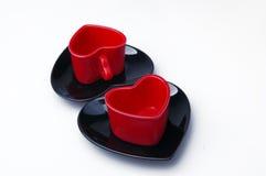 Tazas en forma de corazón Fotos de archivo libres de regalías