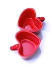 Tazas en forma de corazón Imagenes de archivo