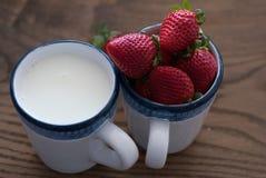 Tazas llenadas de los stawberries y de la leche frescos Imagen de archivo
