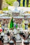 Tazas para la competencia en la tabla fotografía de archivo