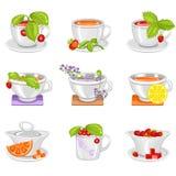 Tazas para la consumición del té Foto de archivo libre de regalías