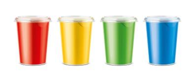 Tazas para la lechería y otras comidas ilustración del vector