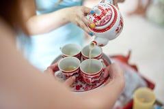 Tazas para la sesión del té Fotografía de archivo