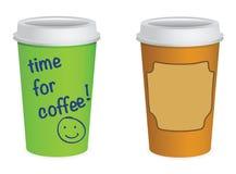 Tazas para llevar del coffe Imagen de archivo libre de regalías