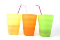 Tazas plásticas Foto de archivo