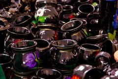 Tazas tradicionales de la arcilla handicrafted de México fotografía de archivo libre de regalías