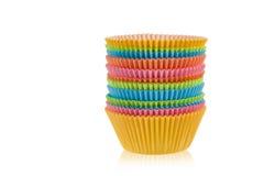 Tazas vacías coloridas del mollete Imagen de archivo libre de regalías