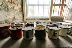 Tazas viejas en el fuerte 13 Jilava Imágenes de archivo libres de regalías