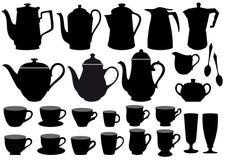 Tazas y crisoles de café,   ilustración del vector