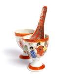 Tazas y cuchara de té de China Fotos de archivo