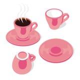 Tazas y platillos aislados del café express Imágenes de archivo libres de regalías