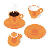 Tazas y platillos aislados del café express Imagenes de archivo